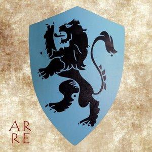 Kinderschild, leeuw op blauw