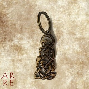 Sleutelhanger midgaardslang, brons